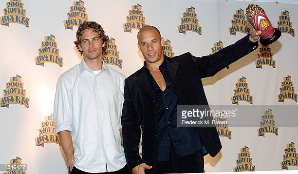 Actors Paul Walker and Vin Diesel were honored with the Best Screen Team Award for the movie The Fast and the Furious at the 2002 MTV Movie Awards...