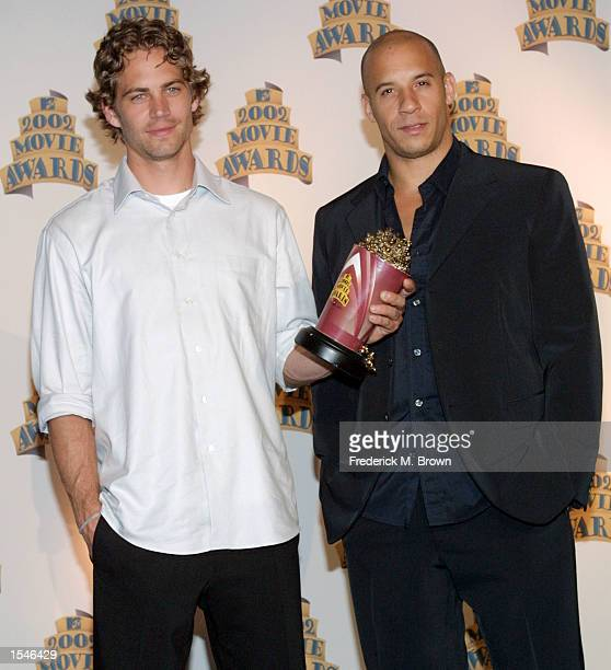 """Actors Paul Walker and Vin Diesel were honored with the Best Screen Team Award for the movie """"The Fast and the Furious"""" at the 2002 MTV Movie Awards..."""