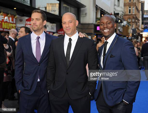 Actors Paul Walker Vin Diesel and Tyrese Gibson attend the Fast Furious 6 World Premiere at The Empire Leicester Square on May 7 2013 in London...