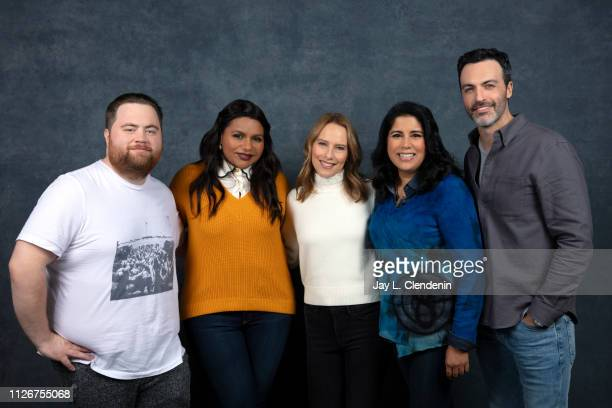 Actors Paul Walter Hauser writer/producer Mindy Kaling Amy Ryan director Nisha Ganatra and Reid Scott from 'Late Night' are photographed for Los...