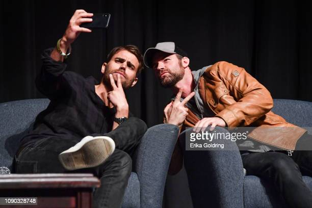 Actors Paul Wesley and Daniel Gilles of 'The Vampire Diaries' take a selfie during Wizard World Comic Con at Ernest N Morial Convention Center on...