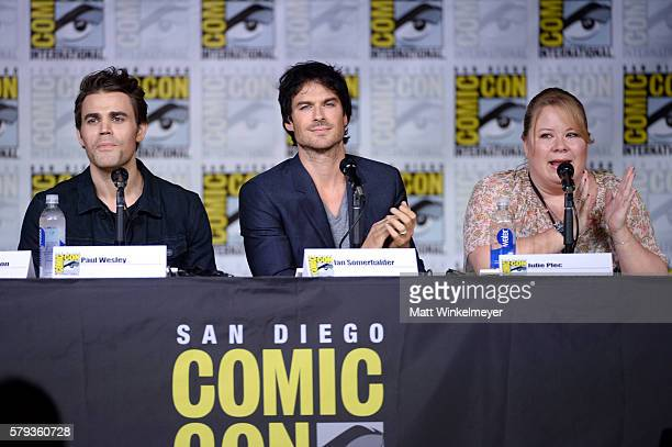 Actors Paul Wesley and Ian Somerhalder and writer/producer Julie Plec attend the The Vampire Diaries panel during ComicCon International 2016 at San...
