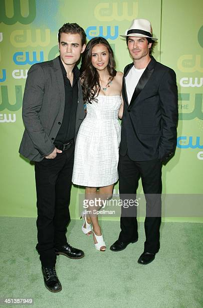 Actors Paul Wesley Nina Dobrev and Ian Somerhalder attend the 2009 The CW Network UpFront at Madison Square Garden on May 21 2009 in New York City