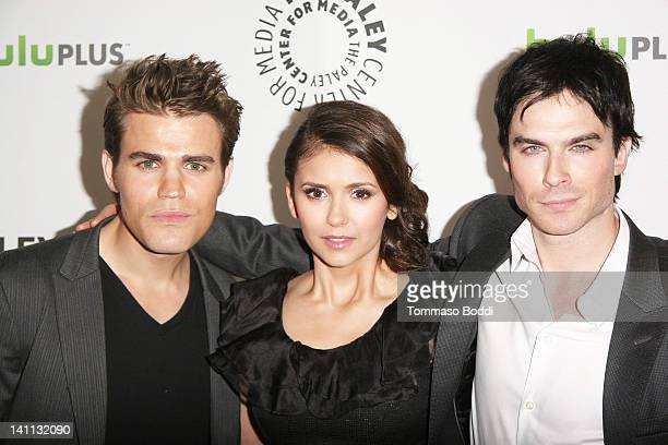 Actors Paul Wesley Nina Dobrev and Ian Somerhalder attend the PaleyFest 2012 presents The Vampire Diaries held at the Saban Theatre on March 10 2012...
