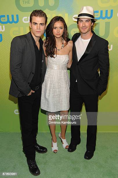 Actors Paul Wesley Nina Dobrev and Ian Somerhalder attend the CW Network 2009 Upfront at Madison Square Garden on May 21 2009 in New York City