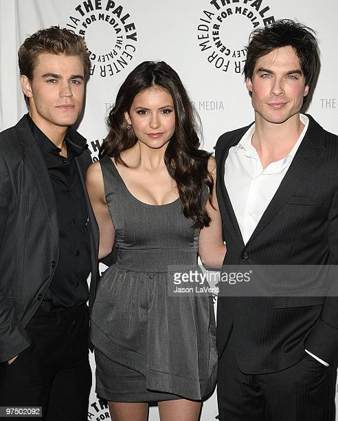 Actors Paul Wesley Nina Dobrev and Ian Somerhalder attend 'The Vampire Diaries' event at the 27th annual PaleyFest at Saban Theatre on March 6 2010...