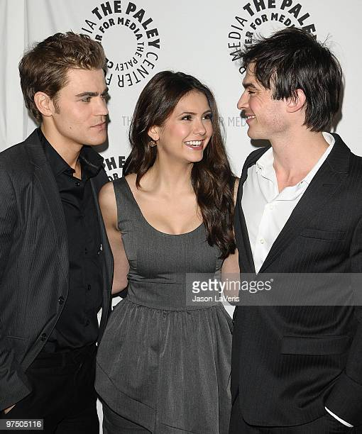"""Actors Paul Wesley, Nina Dobrev and Ian Somerhalder attend """"The Vampire Diaries"""" event at the 27th annual PaleyFest at Saban Theatre on March 6, 2010..."""