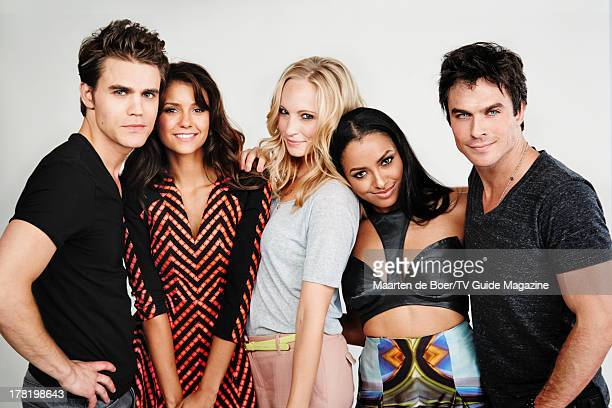 Actors Paul Wesley Nina Dobrev Candice Accola Kat Graham and Ian Somerhalder are photographed for TV Guide Magazine on July 20 2013 on the TV Guide...