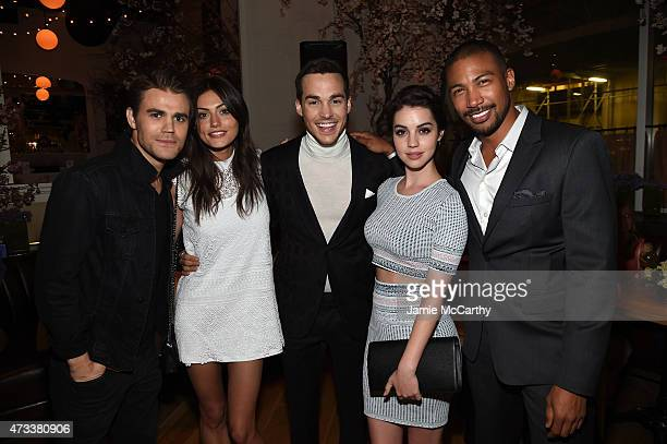 Actors Paul Wesley Phoebe Tonkin Chris Wood Adelaide Kane and Charles Michael Davis attend the CW Network's 2015 Upfront party at Park Avenue Spring...