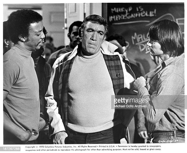 Actors Paul Winfield Anthony Quinn and Gary Lockwood on set of the movie RPM in 1970