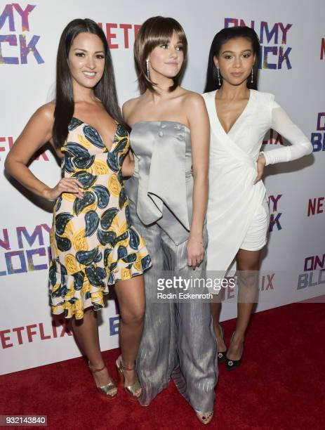 Actors Paula Garces Ronni Hawk and Sierra Capri arrive at the premiere of Netflix's 'On My Block' at NETFLIX on March 14 2018 in Los Angeles...