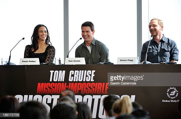 Actors Paula Patton Tom Cruise and Simon Pegg attend the Mission Impossible Ghost Protocol Press Conference during the 8th Annual Dubai International...