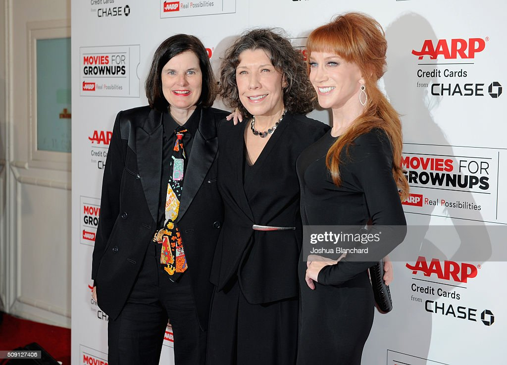 Actors Paula Poundstone, Lily Tomlin, and host Kathy Griffin attend AARP's 15th Annual Movies For Grownups Awards at the Beverly Wilshire Four Seasons Hotel on February 8, 2016 in Beverly Hills, California.