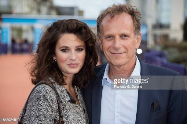 Actors Pauline Cheviller and Charles Berling arrive at the closing ceremony of the 43rd Deauville American Film Festival on September 9 2017 in...