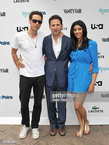 Actors Paulo Costanzo Mark Feuerstein and Reshma Shetty of USA Network's Royal Pains attend the Royal Pains Summer Shirt Exchange to benefit Doctors...