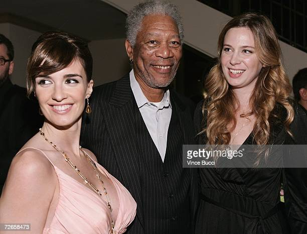Actors Paz Vega Morgan Freeman and Anne Dudek attend the after party to the Los Angeles premiere of the film 10 Items Or Less on November 27 2006 at...