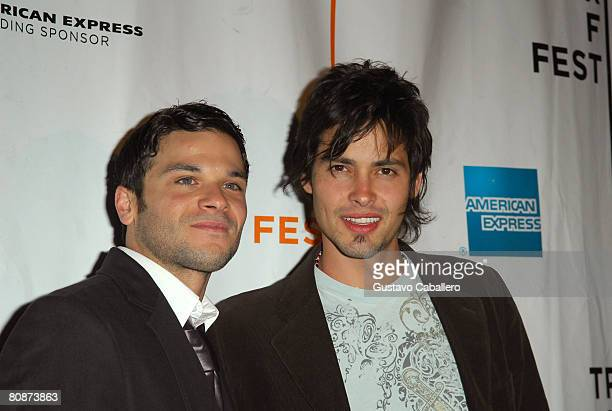 Actors Pedro Capo Rodriguez and Aldemar Correa attend the premiere of Paraiso Travel during the 2008 Tribeca Film Festival on April 26 2008 in New...