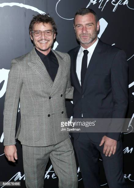Actors Pedro Pascal and Liev Schreiber attend the 'mother' New York premiere at Radio City Music Hall on September 13 2017 in New York City