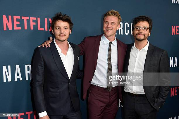 Actors Pedro Pascal Boyd Holbrook and Wagner Moura attend the Season 2 premiere of Netflix's Narcos at ArcLight Cinemas on August 24 2016 in...