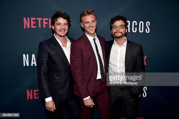 Actors Pedro Pascal Boyd Holbrook and Wagner Moura attend the Season 2 premiere of Netflix's 'Narcos' at ArcLight Cinemas on August 24 2016 in...
