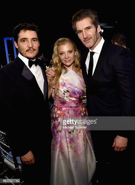 Actors Pedro Pascal Natalie Dormer and producer David Benioff attend TNT's 21st Annual Screen Actors Guild Awards cocktail reception at The Shrine...