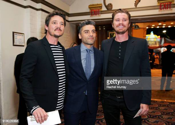 Actors Pedro Pascal Oscar Isaac and Garrett Hedlund attend the Los Angeles Premiere of 'Annihilaton' at Regency Village Theatre on February 13 2018...