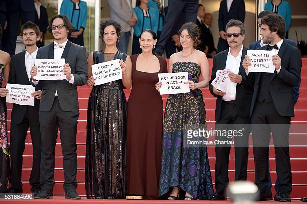 Actors Pedro Queiroz Allan Souza Maeve Jinkings Sonia Braga Emilie Lesclaux director Kleber Mendonca Filho and actor Humberto Carrao attend the...