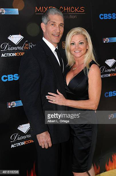 Actors Pee Wee Piemonte and Julie Michaels arrive for the 6th Annual Diamond In The RAW Action Icon Awards held at Skirball Cultural Center on...