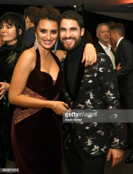 Actors Penelope Cruz and Darren Criss pose at the after party for the premiere of FX's 'The Assassination Of Gianni Versace American Crime Story' at...