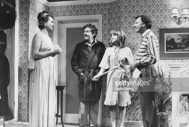 Actors Penelope Keith Richard Briers Felicity Kendal and Paul Eddington in a scene from episode 'Early Birds' of the television sitcom 'The Good...