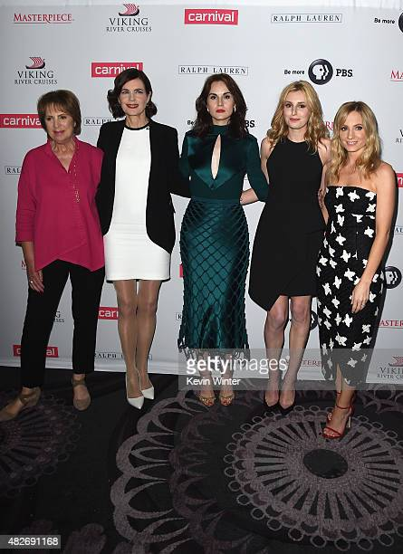 Actors Penelope Wilton Elizabeth McGovern Michelle Dockery Laura Carmichael and Joanne Froggatt attend the 'Downton Abbey' cast photo call during the...