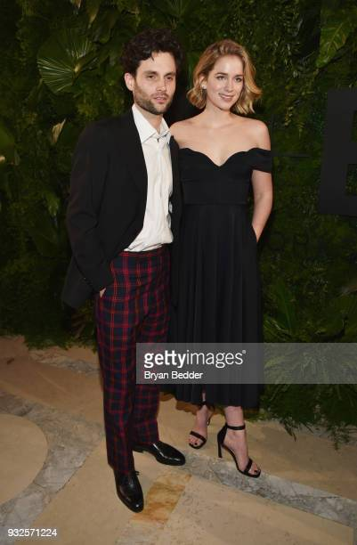 Actors Penn Badgley and Elizabeth Lail attend the 2018 AE Upfront on March 15 2018 in New York City
