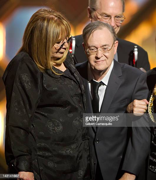 Actors Penny Marshall and David L Lander speak onstage at the 10th Annual TV Land Awards at the Lexington Avenue Armory on April 14 2012 in New York...