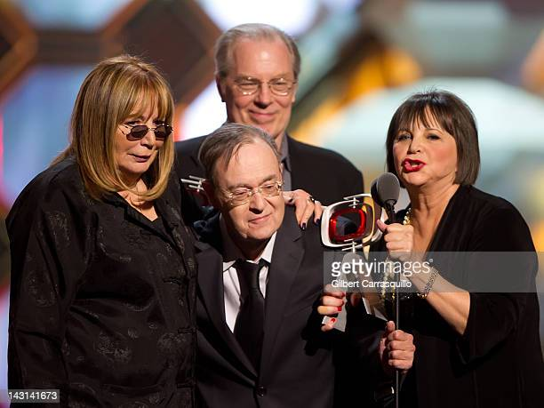 Actors Penny Marshall David L Lander Michael McKean and Cindy Williams speak onstage at the 10th Annual TV Land Awards at the Lexington Avenue Armory...