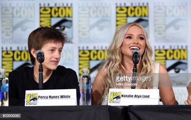 Actors Percy Hynes White and Natalie Alyn Lind speak onstage at ComicCon International 2017 'The Gifted' Extended Sneak Peek at San Diego Convention...