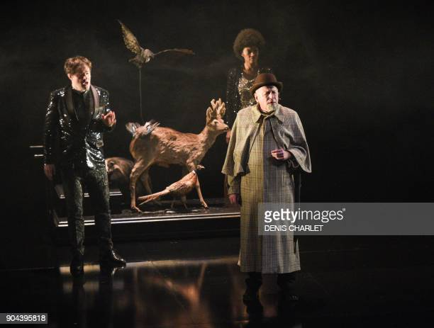 Actors perfom the play As you like it by William Shakespeare directed by Christophe Rauck at the Theatre du Nord in Lille northern France / AFP PHOTO...