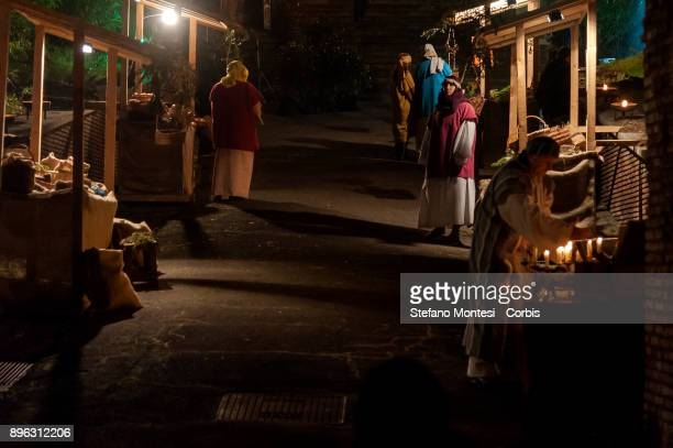 Actors perform a living nativity scene for Christmas celebrations during the Inaugurated the 'Living Nativity scene of Rome Venite Adoremus' It is a...