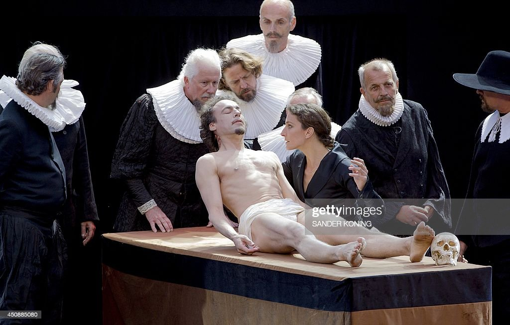 Actors perform a scene of \'The Anatomy Lesson of Dr Pictures | Getty ...