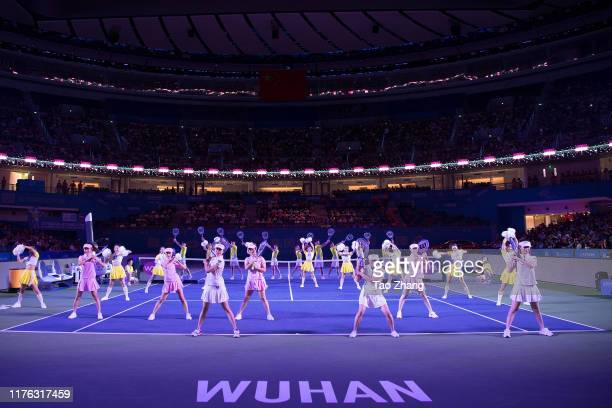 Actors perform at the opening ceremony of 2019 Wuhan Open at Optics Valley International Tennis Center on September 22, 2019 in Wuhan, China.