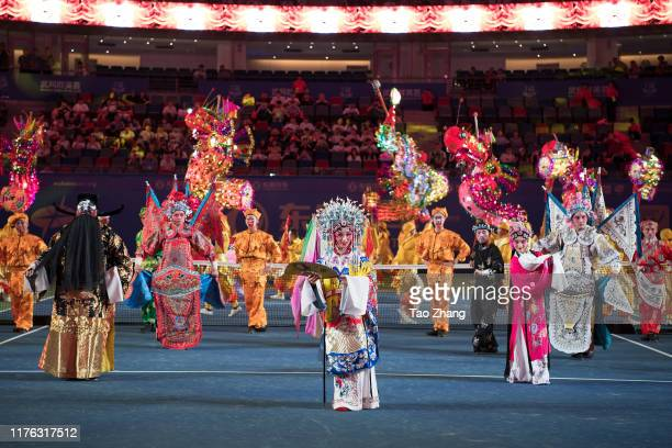 Actors perform at the opening ceremony of 2019 Wuhan Open at Optics Valley International Tennis Center on September 22 2019 in Wuhan China