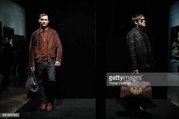 Actors perform at Trussardi presentation during Milan Men's Fashion Week Fall/Winter 2017/18 on January 16, 2017 in Milan, Italy.