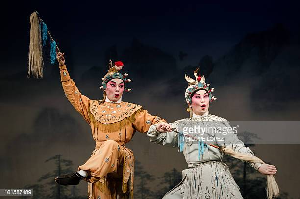 Actors perform during a Cantonese Opera in Hong Kong on February 12 2013 as part of the Chinese New Year celebrations held in the city Other than its...
