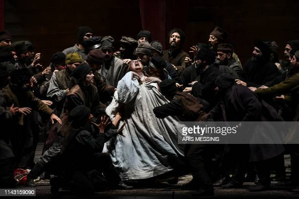 TOPSHOT Actors perform during a general rehearsal of 'Lady Macbeth of Mtsensk' an opera by Russian composer Dmitri Shostakovich and directed by...