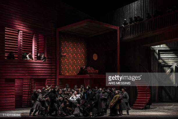 Actors perform during a general rehearsal of 'Lady Macbeth of Mtsensk' an opera by Russian composer Dmitri Shostakovich and directed by French...