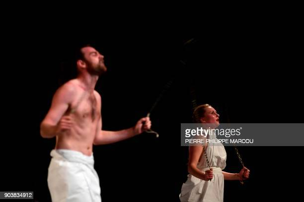 Actors perform during a rehearsal for 'Mount Olympus To glorify the cult of tragedy' by Belgian stage director Jan Fabre in Madrid on January 11 2018...
