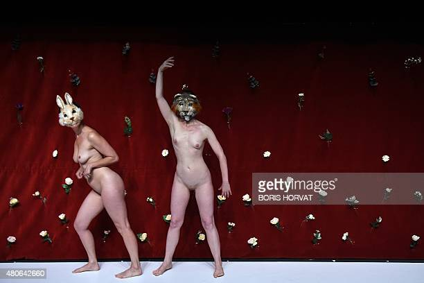 Actors perform during a rehearsal of the play 'A Mon Seul Desir' directed by Gaelle Bourges as part of the 69th Avignon Theater Festival southeastern...