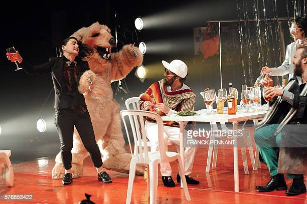 Actors perform during a rehearsal of the play 'La Dictatura de lo cool' directed by Chilean director Marco Layera on July 17 2016 at the Gymnase...