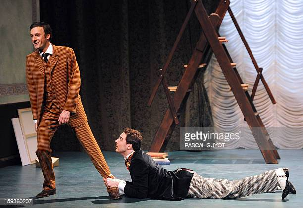ZAKA Actors perform during a rehearsal of the play 'L'importance d'etre serieux' based on a novel by Irish writer Oscar Wilde directed by Gilbert...