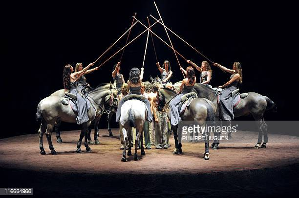 Actors perform during a rehearsal of We were horses directed by the founder of the French equestrian theater Zingaro horseman Bartabas and US dancer...