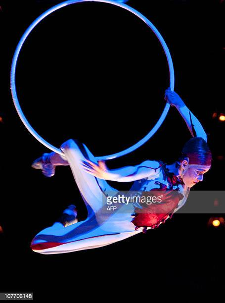 Actors perform during Quidam in December 20 2010 in Montreal Canada The productio which premiered in Montreal under the Big Top in 1996 is being...